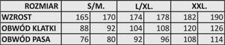 tabela rozmiarów szlafroków